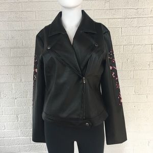 Guess black faux leather embroidered jacket